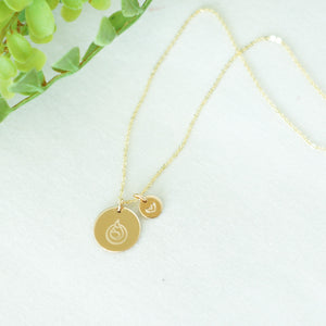 Gold Disc Necklace with stamped heart charm