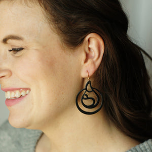 Black leather breastfeeding earrings