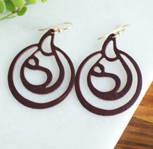 Maroon breastfeeding leather earrings with gold ear wire