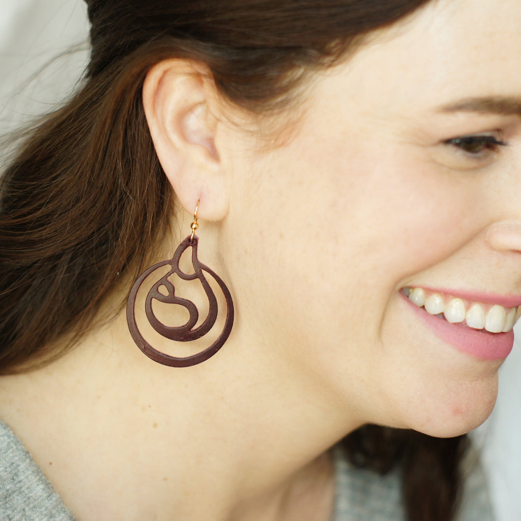 maroon breastfeeding leather earrings