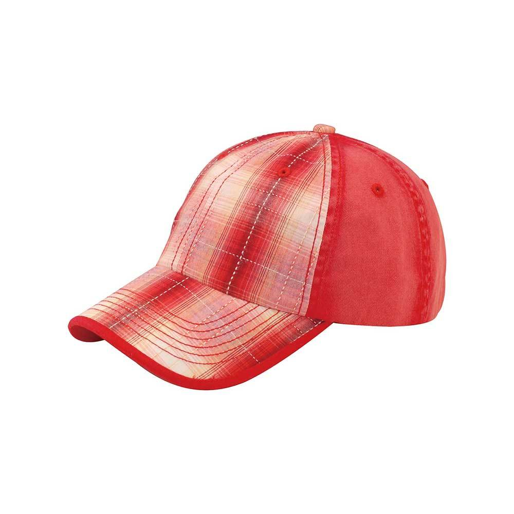 Washed Plaid Cotton Twill Cap
