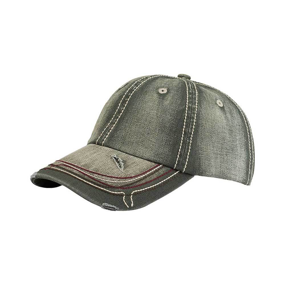 Low Profile Unstructured Heavy Washed Herringbone Cap