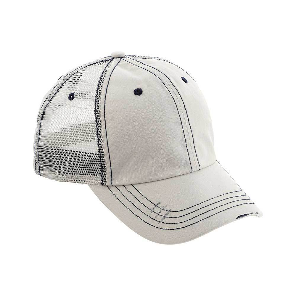 Washed Herringbone Cotton Twill Mesh Cap