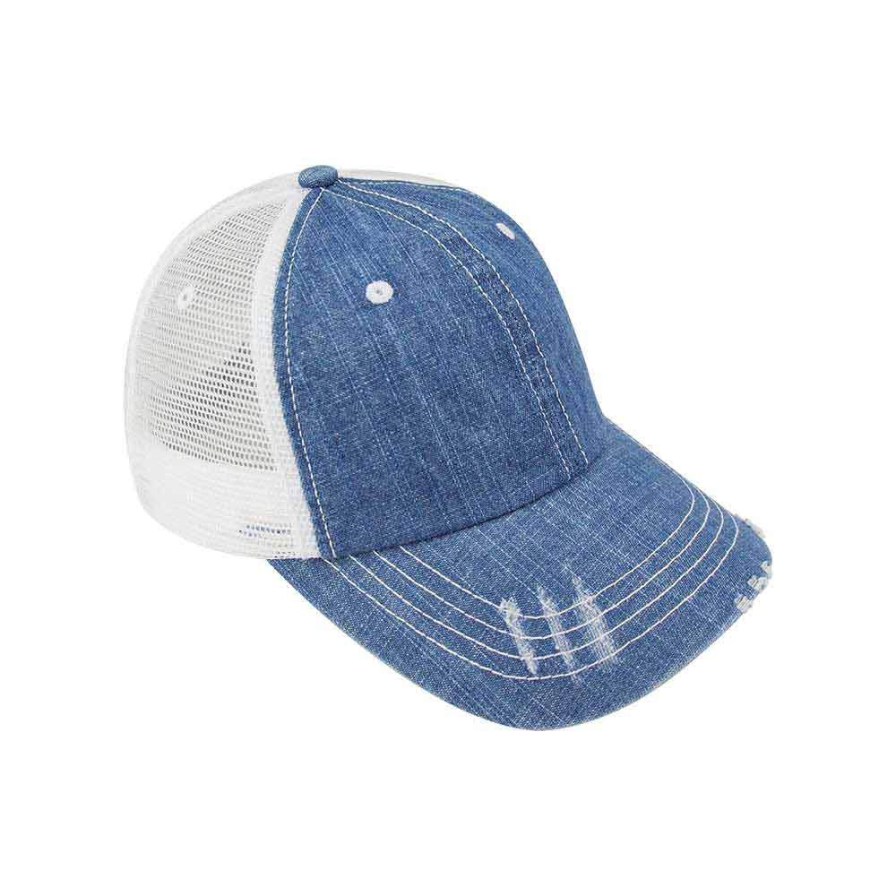 Customized Football Mom Washed Denim Trucker Cap