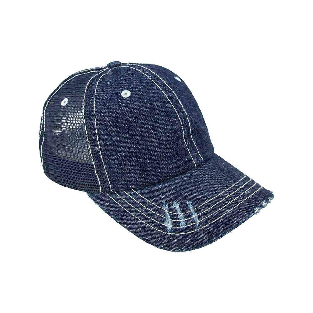Washed Denim Mesh Cap