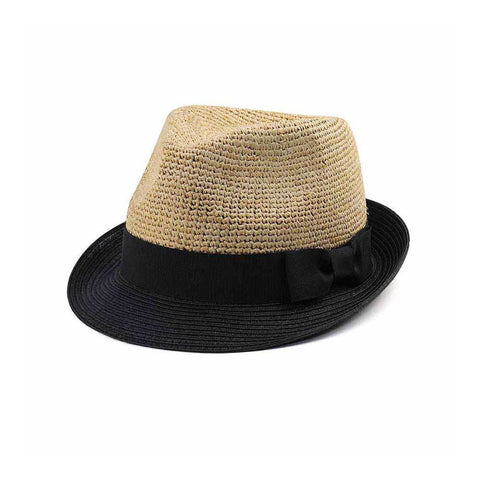 Raffia fedora hat with black grosgrain ribbon and bow – ISelections b339ebbfaf12