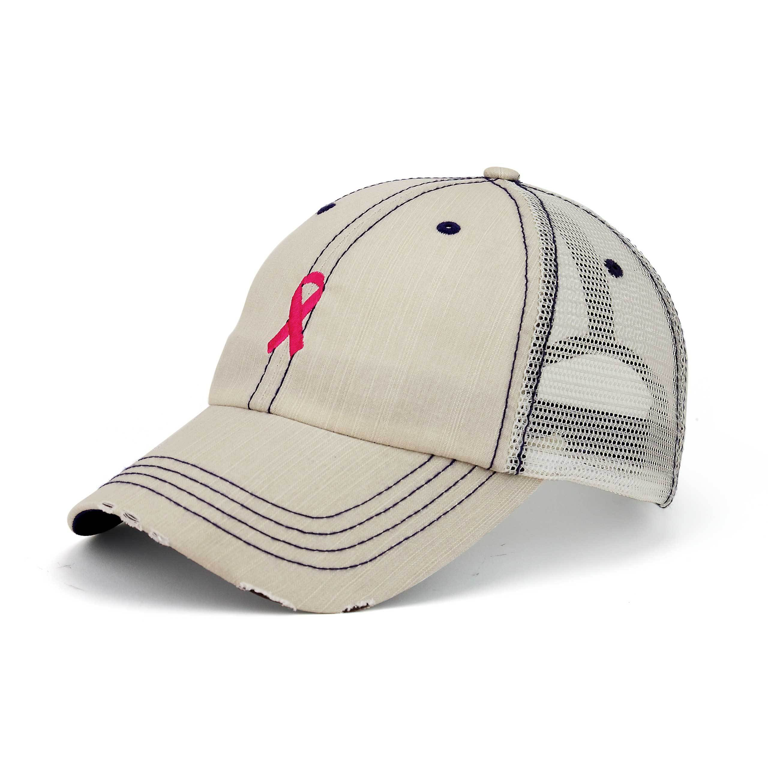 Pink Ribbon Breast Cancer Awareness Herringbone Cotton Cap