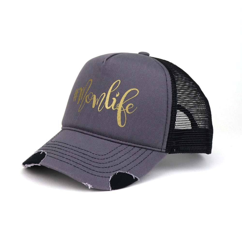 Hashtag Mom Life Distressed Cotton Foam Trucker Cap