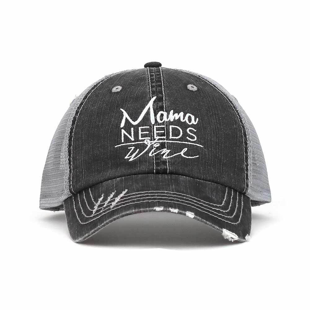 Customized Mama Needs Coffee/Wine Distressed Trucker Cap