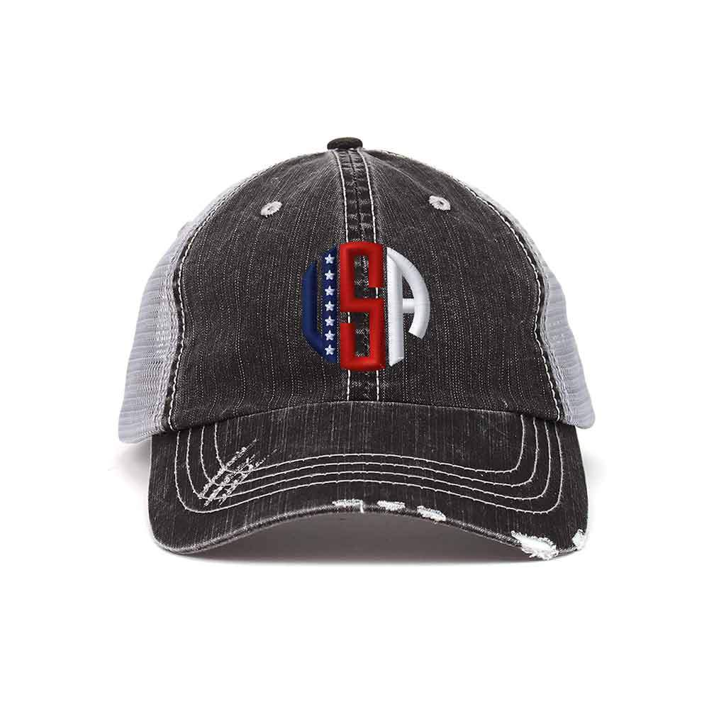 USA Distressed Trucker Cap