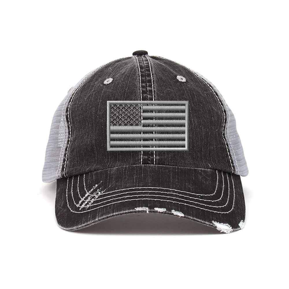 USA Flag Distressed Trucker Mesh Cap