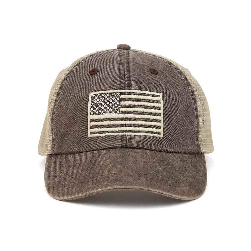 Customized USA Flag Washed Trucker Cap