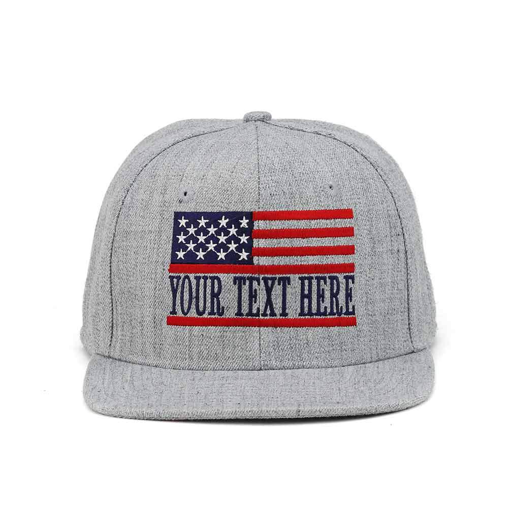 Customized American Flag Wool Snapback Cap