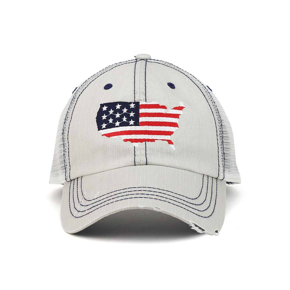 American Flag Distressed Trucker Mesh Cap