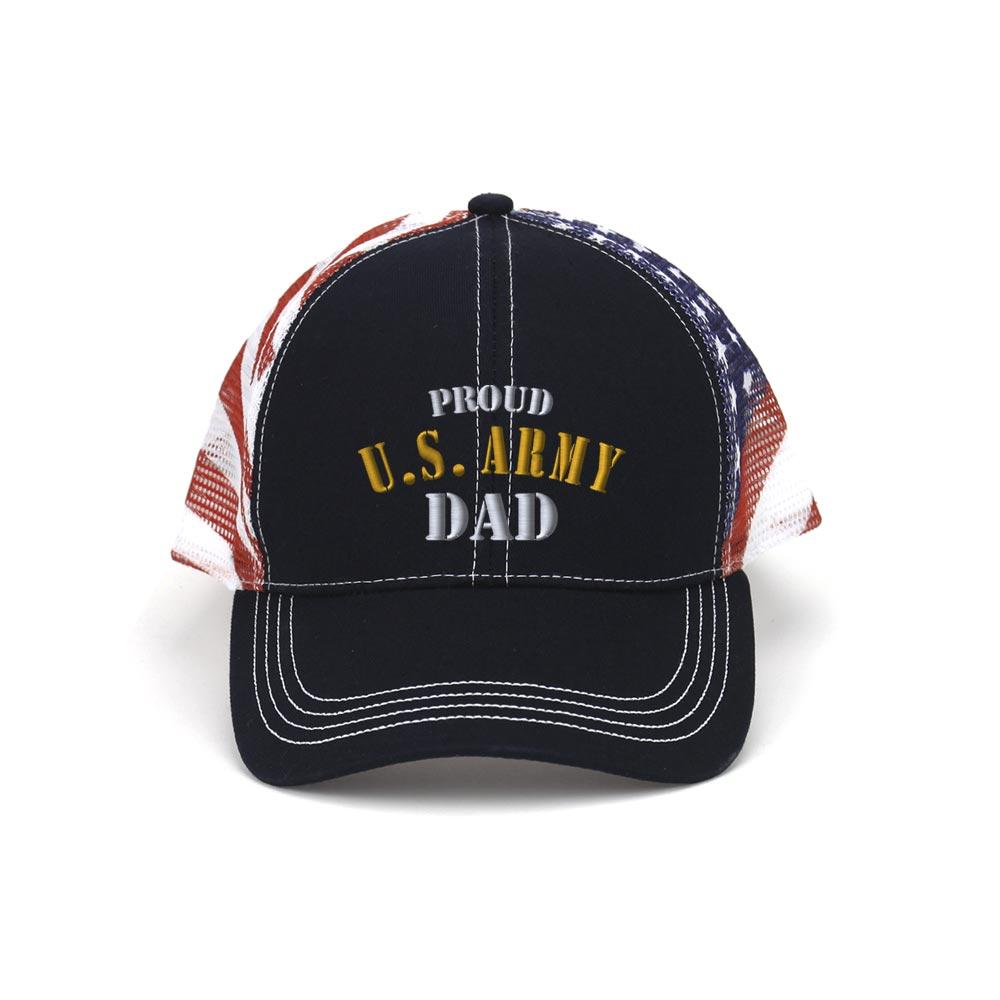Customized Proud U.S. Dad Patriot Trucker Mesh Cap