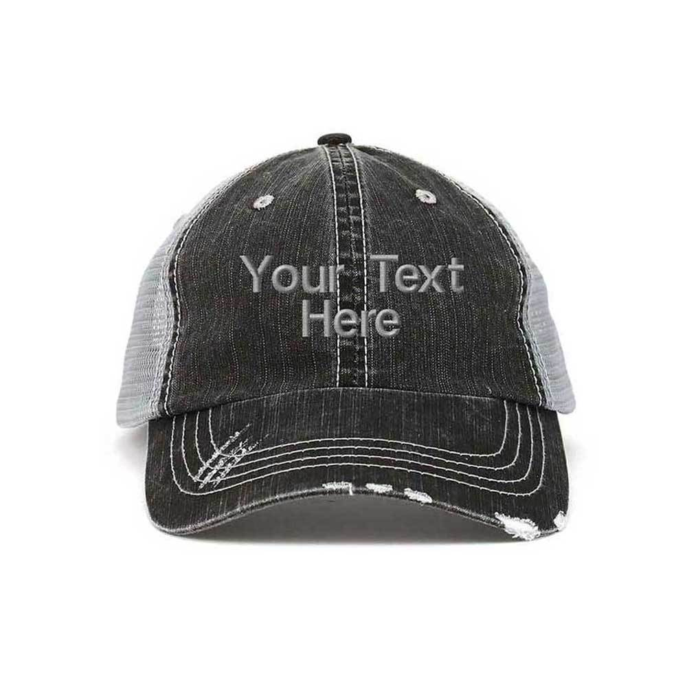 Customized Washed Herringbone Cotton Twill Mesh Cap