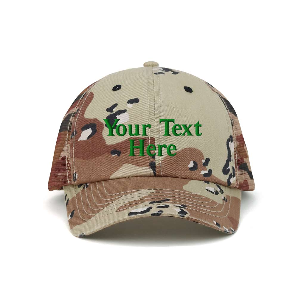 Customized Enzyme Washed Camouflage Mesh Cap