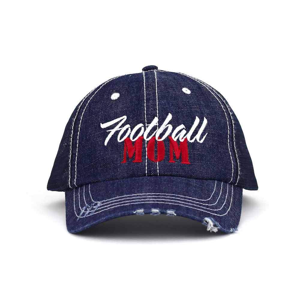 Customized Football Mom Washed Denim Trucker Mesh Cap