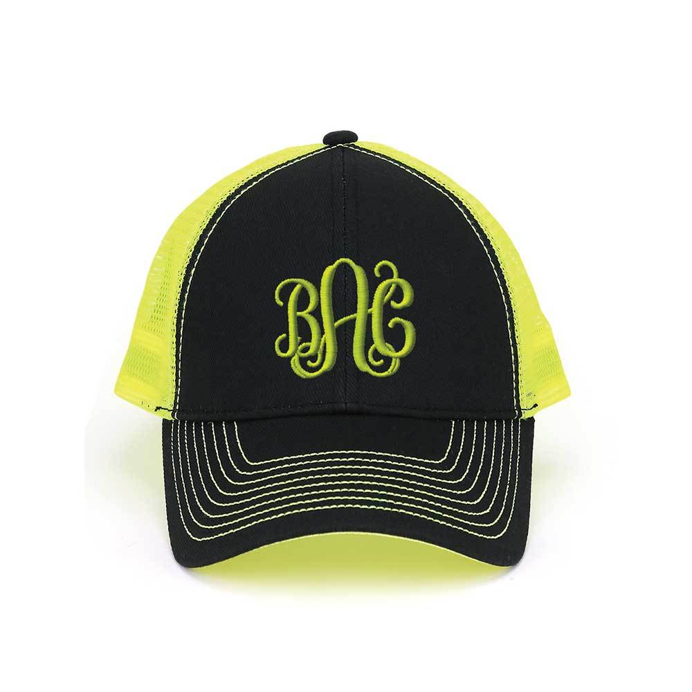 Customized Monogram Neon Heavy Trucker Mesh Cap