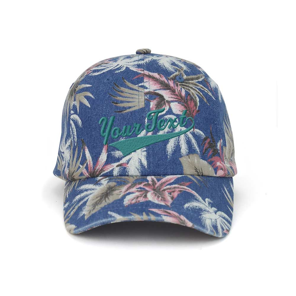 Customized Swoosh and Tail Floral Denim Cap