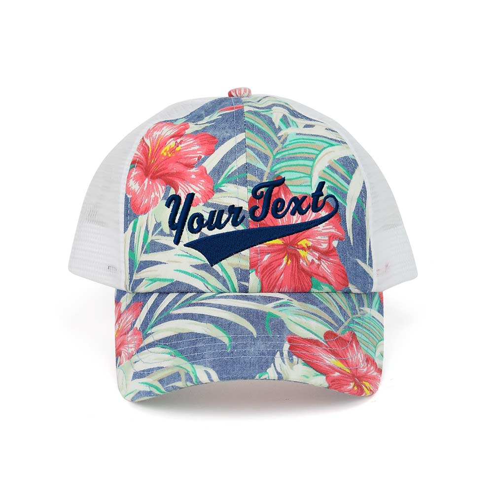 Customized  Swoosh and Tail Floral Mesh Cap
