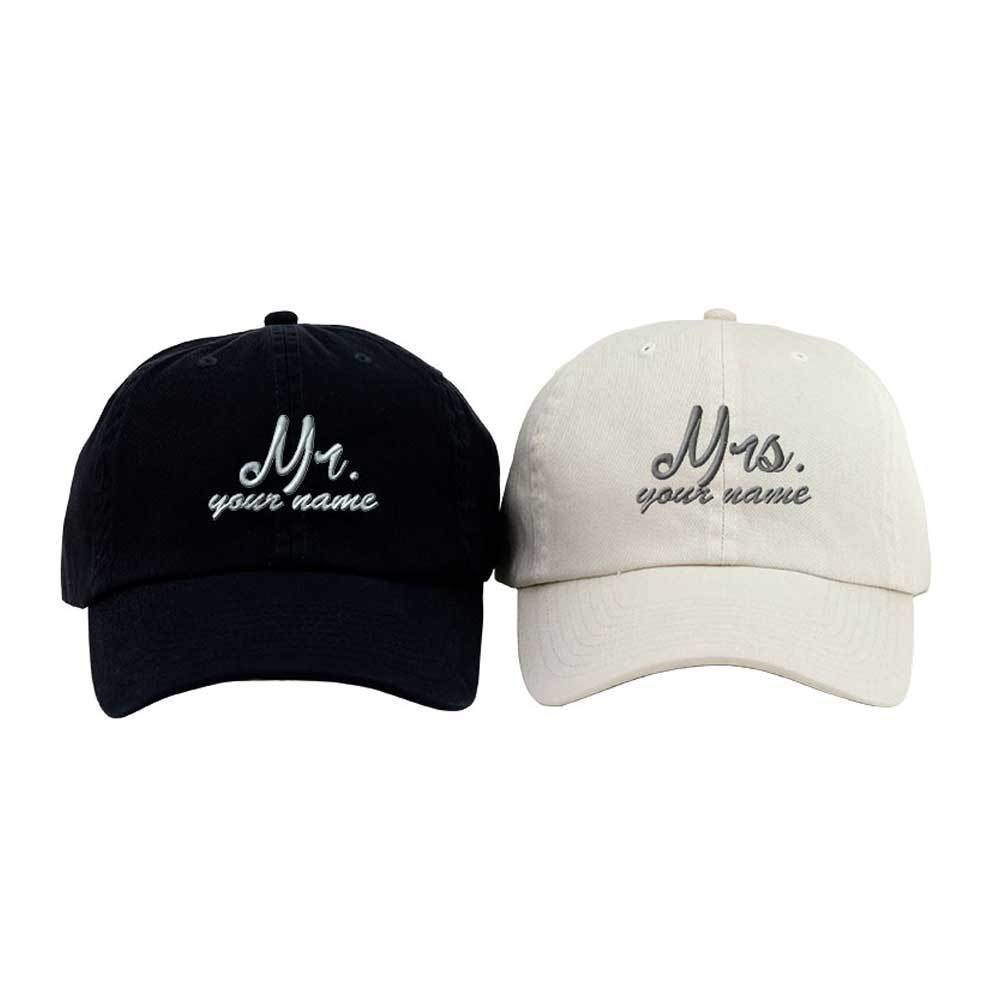 2bd0f8d9d42d7 Customized Couple s Mr. and Mrs. Low Profile Caps – ISelections