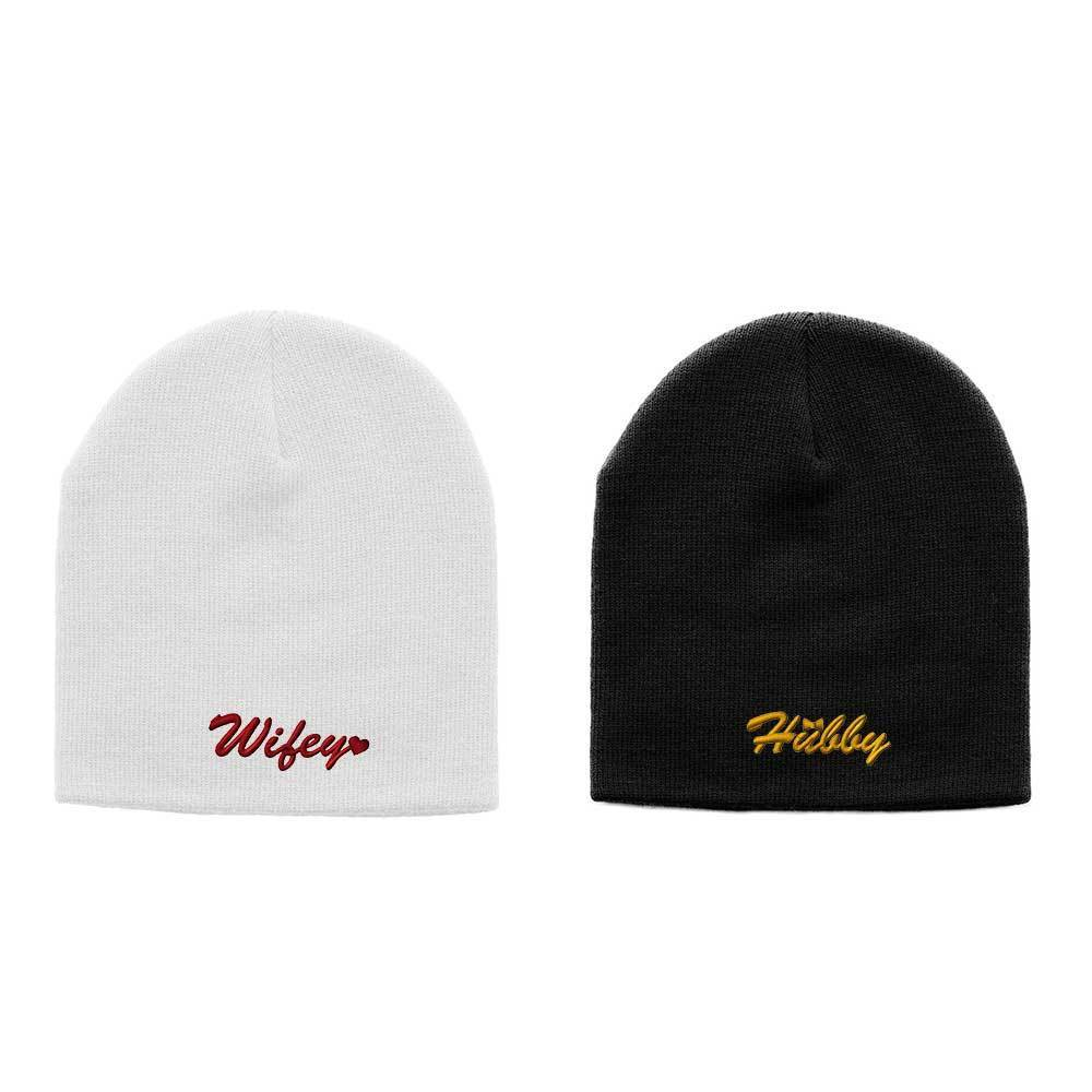Customized Hubby and Wifey Couple's Beanies
