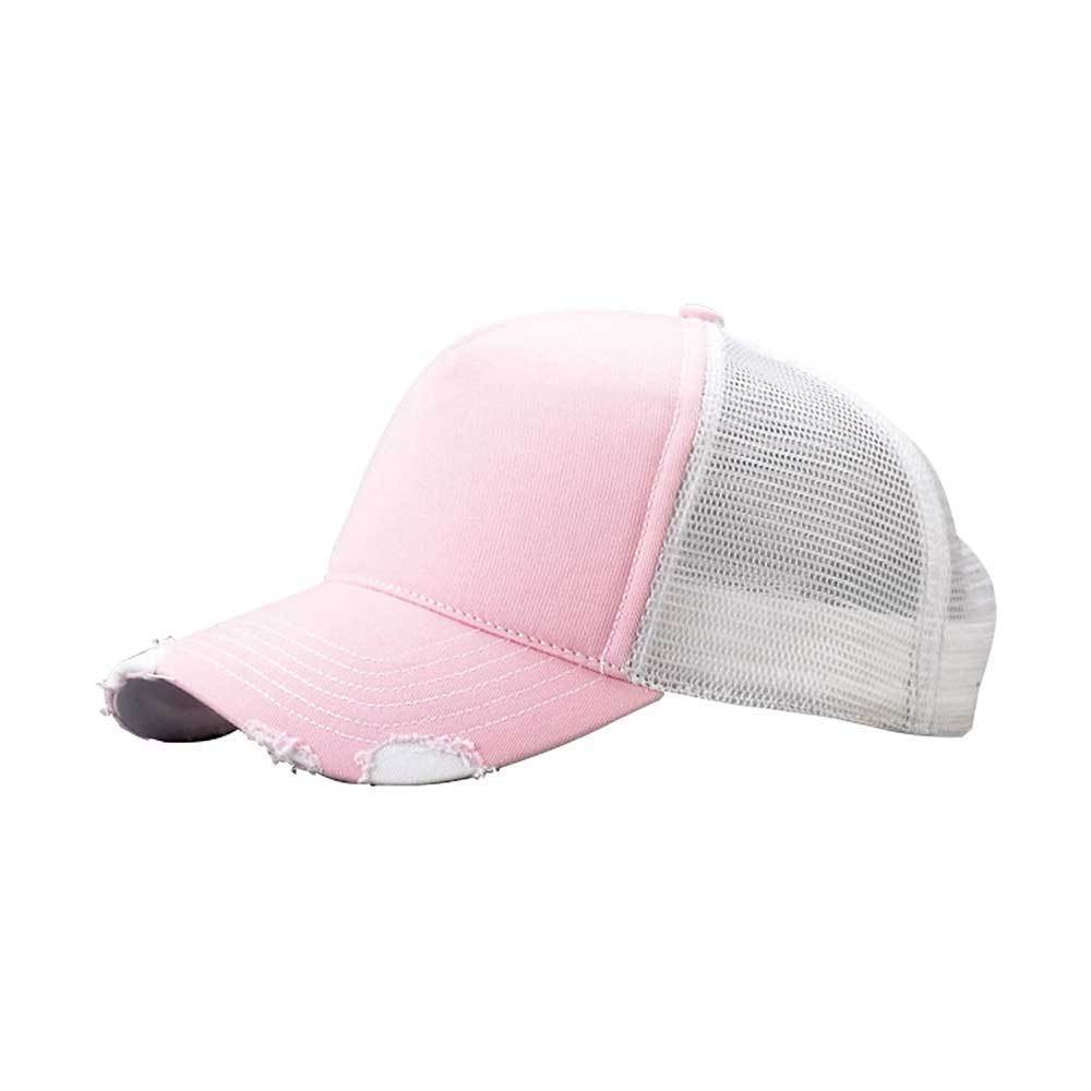 Distressed Cotton Twill Mesh Trucker Cap