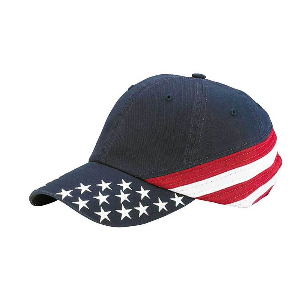 Low Profile Unstructred Washed USA Flag Cap