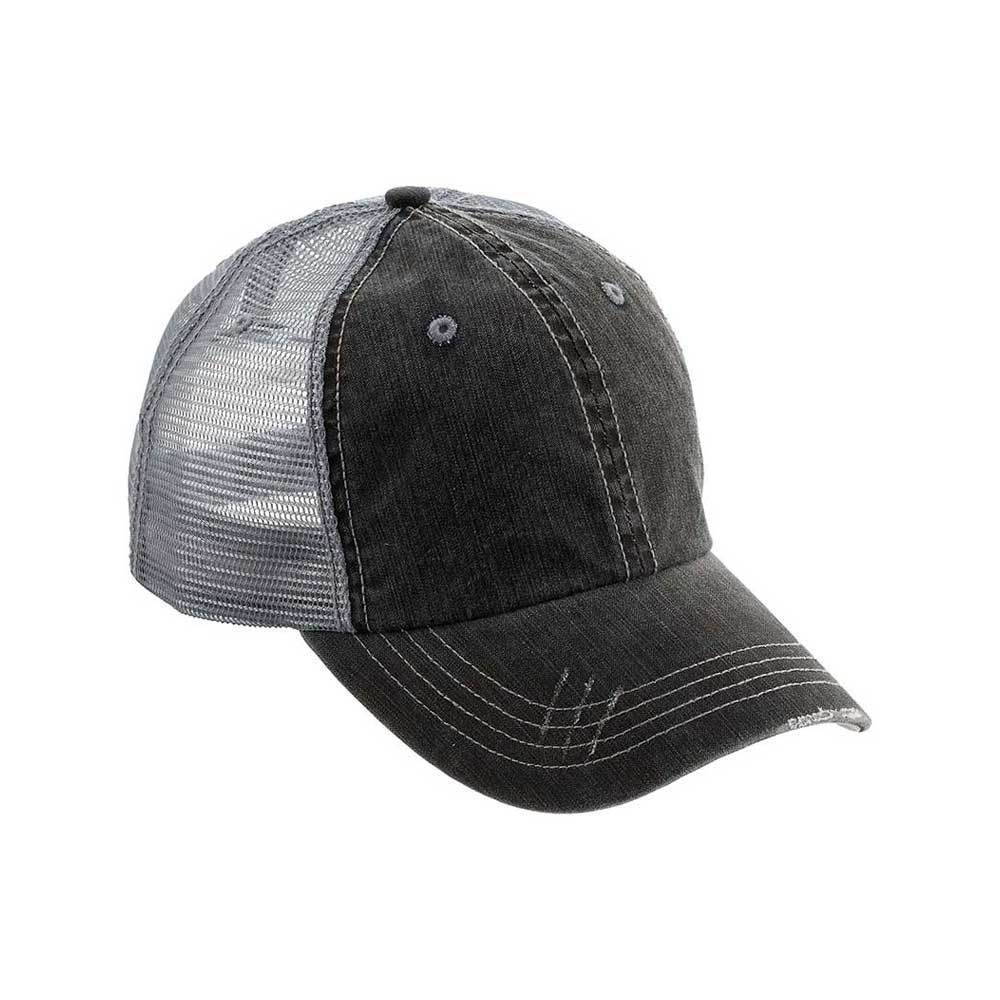 Washed Herringbone Cotton Twill Trucker Mesh Cap