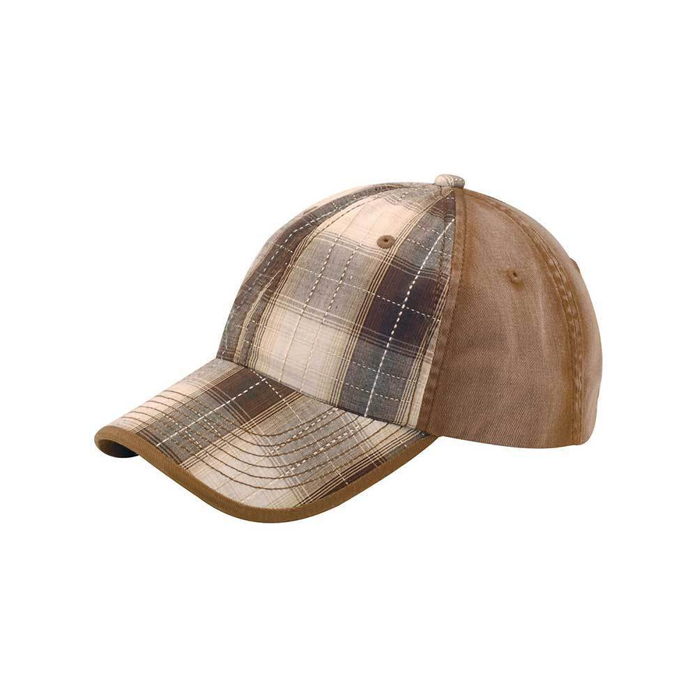 Low Profile Washed Plaid Cotton Twill Cap