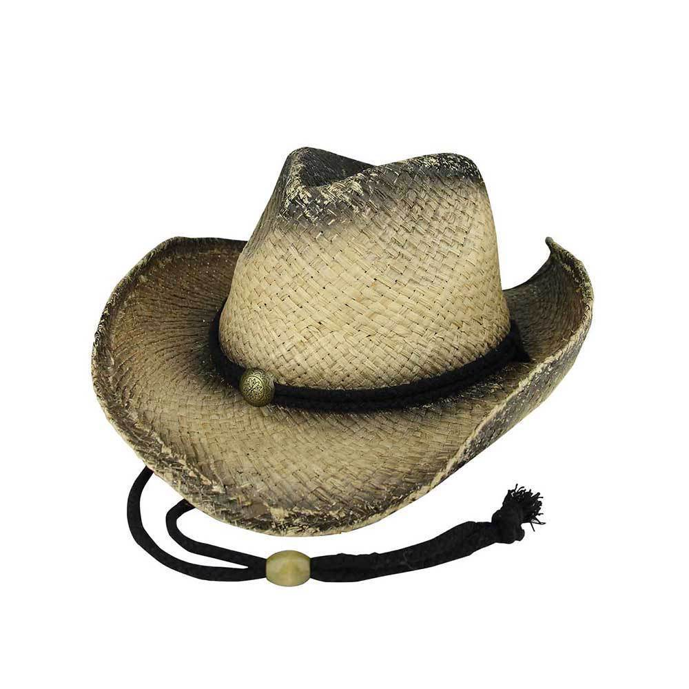 Outback Tea Stained Raffia Cowboy Straw Hat
