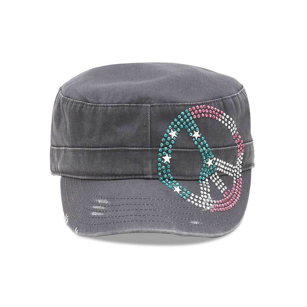 Peace Studded Army Cap