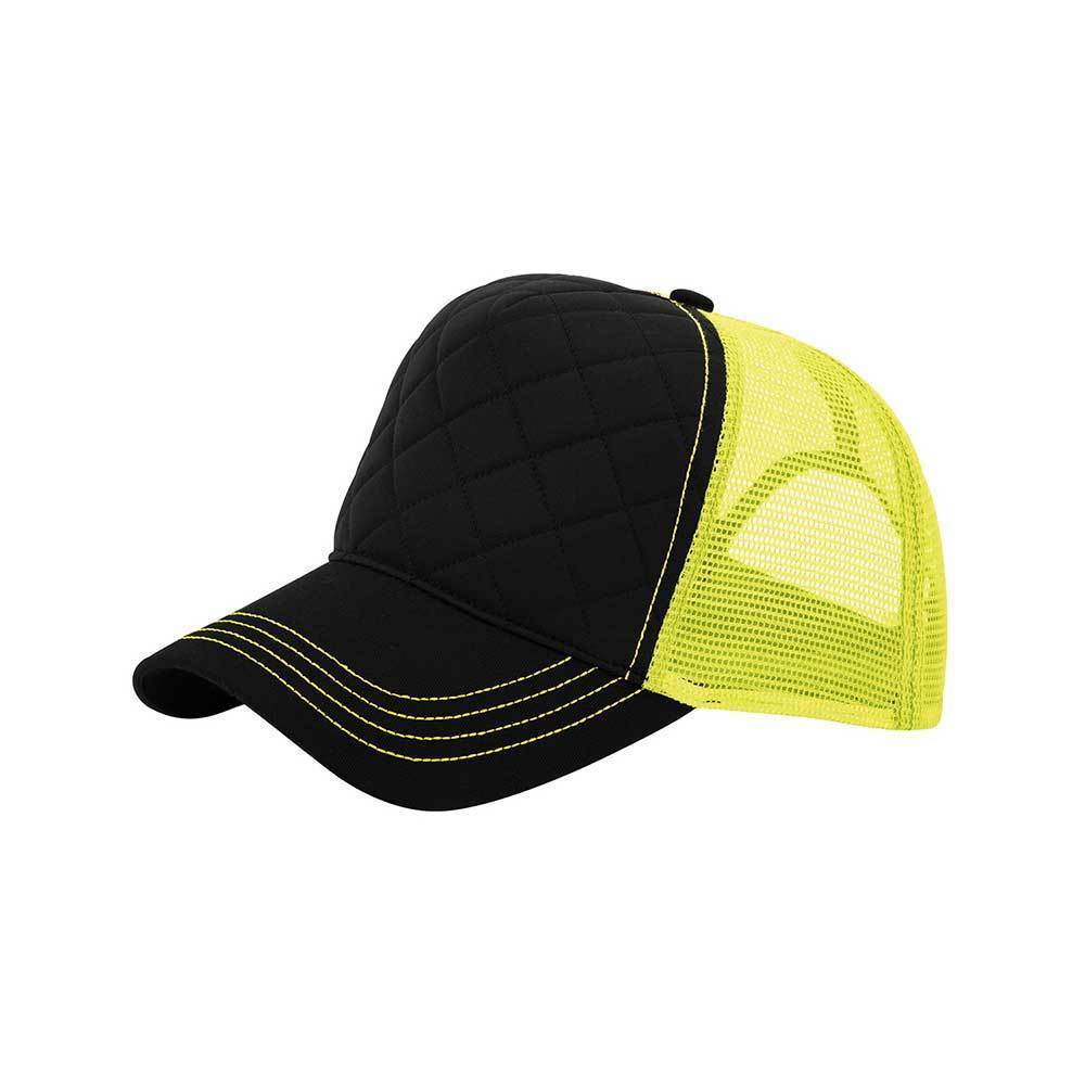 Quilted Trucker Cap With Neon Mesh