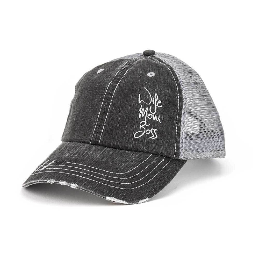 Wife Mom Boss Cotton Twill Trucker Mesh Cap
