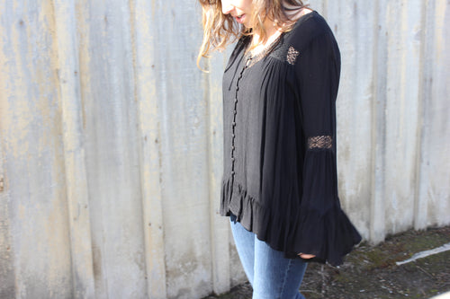 Kira Button Down Lace Blouse