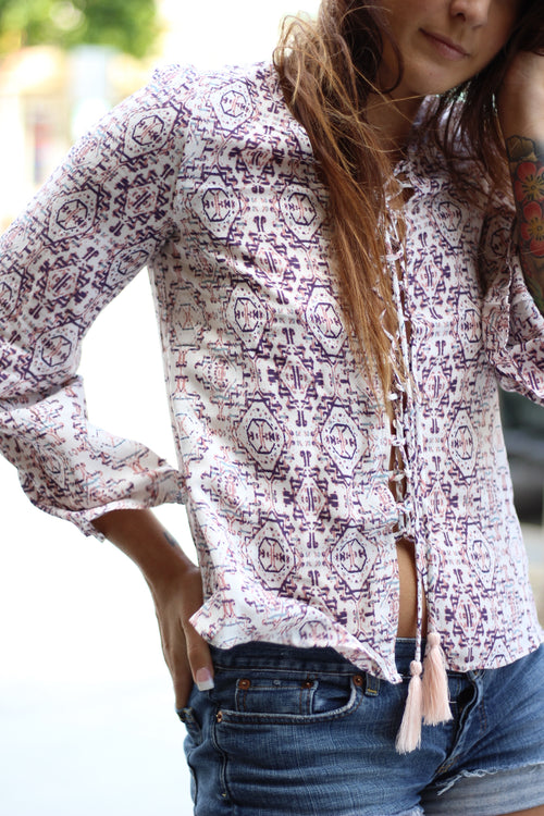 Rhythm Lace Up Blouse