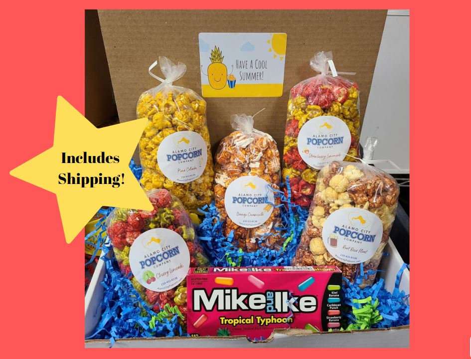 Cool It Down Box - Includes 5 of our fun summer flavors, plus a Tropical Mike & Ikes Candy Box.  Price includes shipping to any front door in the continental U.S.