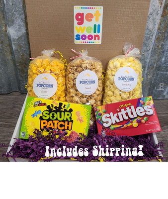 Get Well Pack - You select three popcorn flavors and we select two boxed candies! Price includes shipping to any front door in the continental U.S.