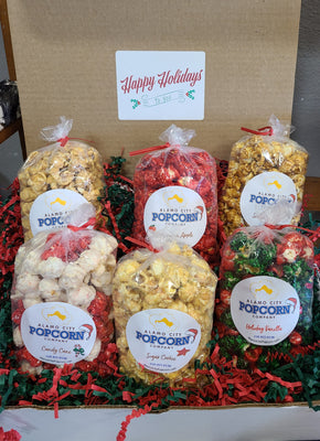 Happy Holidays Box - Includes 6 mini bags of our favorite, sweet Holiday flavors including Holiday Vanilla, Cinnamon Apple, Candy Cane, Snickerdoodle, Sugar Cookie & Sea Salt Caramel.. Price includes shipping to any front door in the continental U.S.