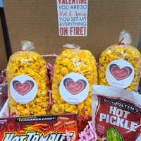 Spicy Lovers Box - Box includes 3 jr. bags of our top spicy popcorn (Street Corn, Jalapeno Cheddar & Spicy Buffalo) plus a box of Hot Tamales candies and a spicy dill pickle! Price includes shipping to any front door in the continental U.S.