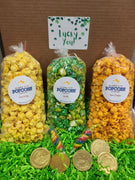 Lucky You Box - You select three popcorn flavors and we include yummy gold chocolate coins and rainbow lollipops. ! Price includes shipping to any front door in the continental U.S.