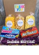 Thank You Pack - You select three popcorn flavors and we select two boxed candies! Price includes shipping to any front door in the continental U.S.