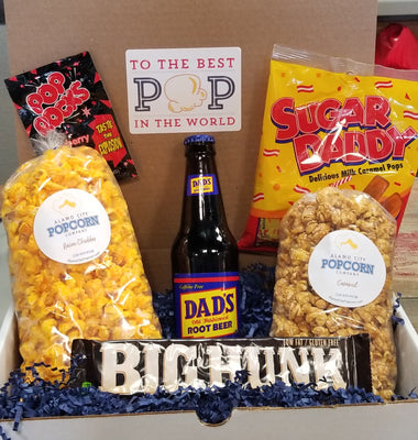 Best POP in the World Box - You select 2 popcorn flavors and we'll include 1 Dad's Rootbeer soda, 1 Big Hunk candy bar, a pack of PopRocks candy and a package of Sugar Daddy caramels. Price includes shipping to any front door in the continental U.S.