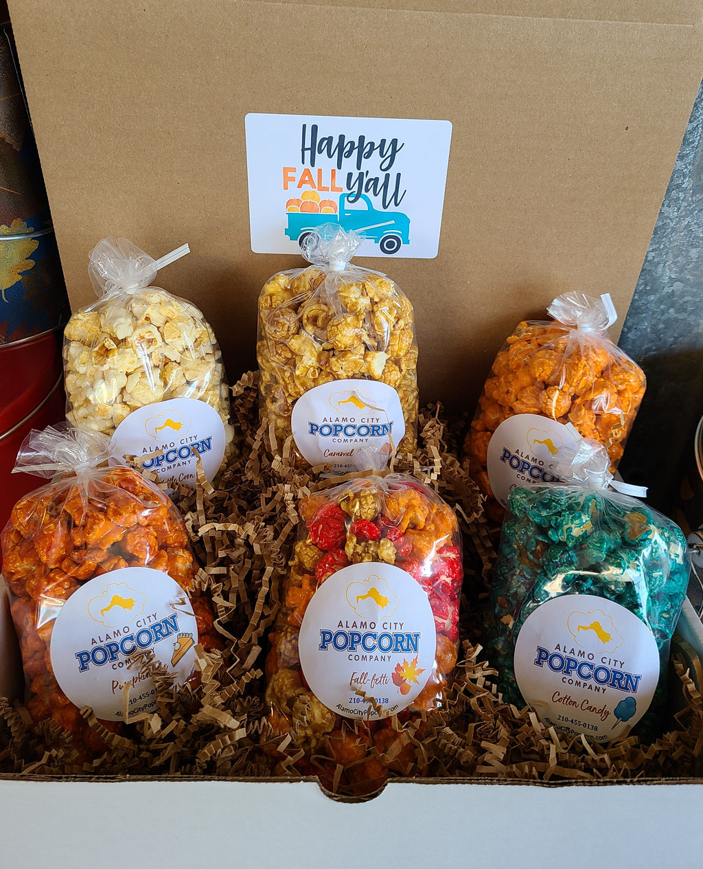 Happy Fall Y'all Box - Includes 6 mini bags of our favorite, sweet fall flavors, Caramel Apple, Candy Corn, Pumpkin Pie, Kettle Corn,  Cotton Candy and our Fall-fetti mix. Price includes shipping to any front door in the continental U.S.