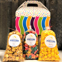3 Flavor - Gable Box - Includes 3 mini bags of popcorn and includes shipping within the continental US.