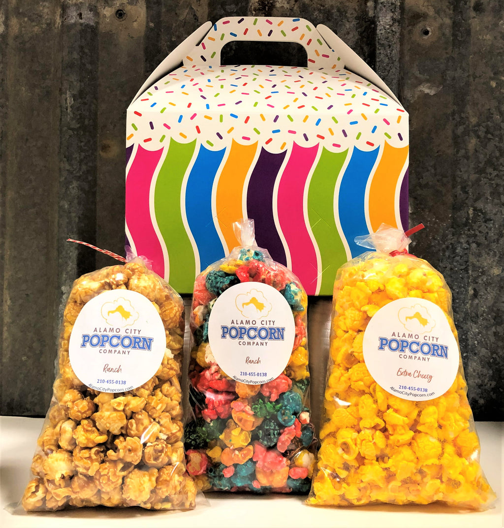 Happy Birthday Gable Box - Includes 3 mini bags of popcorn and includes shipping within the continental US.