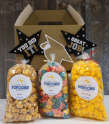 Congratulations Graduate Gable Box - Includes 3 mini bags of popcorn and includes shipping within the continental US.