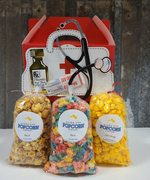 Nurses Appreciation Gable Box - Includes 3 mini bags of popcorn and includes shipping within the continental US.
