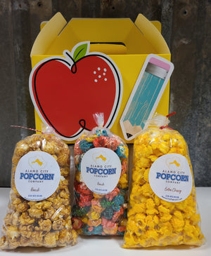 Teacher Appreciation Gable Box - Includes 3 mini bags of popcorn and includes shipping within the continental US.